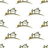 Desert home seamless pattern background. Royalty Free Stock Image