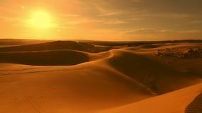Desert horizon Panning. Horizon line sand dunes and blue sky. Beautiful desert landscape. Sahara desert horizon. Sand dunes and sky of Arabian desert. Sand stock footage