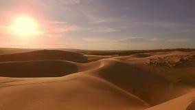 Desert horizon Panning to right. Desert horizon Panning right. Sunset. Horizon line sand dunes and blue sky. Beautiful landscape. Sahara desert horizon. Sand stock video