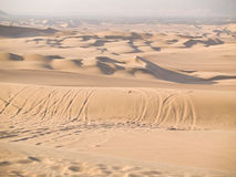 Desert of Ica. Buggy tracks in the desert of Ica in Peru Stock Photography