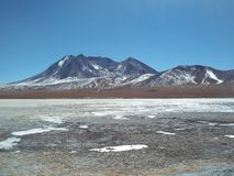 The desert ice cold of the Bolivian altiplano stock photo
