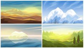 Desert, iceberg, forest, mountains landscape Royalty Free Stock Photo