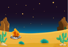 Desert. Illustration of a desert with a fire at night Stock Photos
