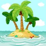 Desert island. Illustration of palm trees on desert island Royalty Free Stock Photo