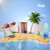 Desert island with beach props. 3d rendering Stock Image