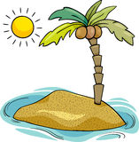 Desert island cartoon illustration Royalty Free Stock Image