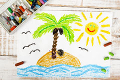 A desert island. Colorful drawing: a desert island Stock Photography