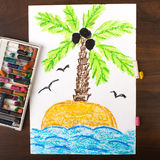 A desert island. Colorful drawing: a desert island Stock Photo
