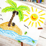 A desert island. Colorful drawing: a desert island Royalty Free Stock Photos