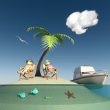 Desert island, couple and vessel Stock Photo