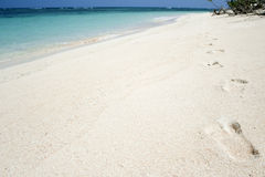 Desert island footprints tropical beach background Royalty Free Stock Photo