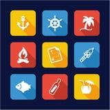 Desert Island Icons Flat Design Stock Images
