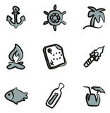 Desert Island Icons Freehand 2 Color Royalty Free Stock Photos