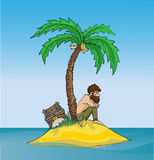 Desert Island. Lonely man on a deserted island with a treasure chest and a palm tree Stock Photos