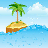 Desert island in ocean. Illustration of the desert island in ocean stock illustration
