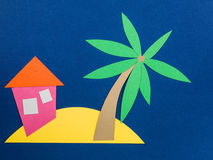 Desert Island with a Palm Tree Royalty Free Stock Image