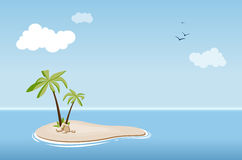 Desert island with palm trees in sea Royalty Free Stock Images