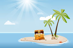 Desert island with palm trees and treasure chest Stock Photo
