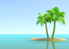 The desert island with palm trees. Two palm trees on the island in the middle of the ocean Stock Photo