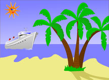 Desert Island and Ship. A cruise ship approching a desert island with palms and a golden beach with a smiling sun in the sky. The additional format is an EPS Stock Image