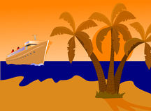 Desert Island and Ship. A cruise ship approching a desert island with palms and a golden beach at sunset. The additional format is an EPS vector saved as an AI8 Royalty Free Stock Photo