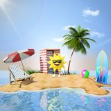 Desert island with sun character and beach props Stock Images