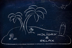 Desert Island with text Holiday & Relax Stock Photography