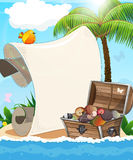 Desert island and treasure chest Royalty Free Stock Photos