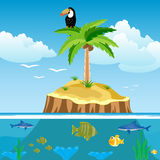 Desert island and undersea world. Desert island and ocean with fish Stock Photography