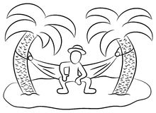 Desert island. Vector illustration of a man in a hammock on a small lonely island vector illustration