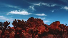 Desert Joshua Tree Red Rock Boulders time lapse stock video footage