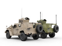 Desert and jungle military all terrain tactical vehicles Stock Photo