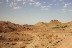 The desert and Kuhrud mountains near Yazd city, Iran. Royalty Free Stock Image