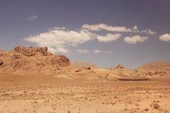 The desert and Kuhrud mountains near Yazd city, Iran. Stock Photos