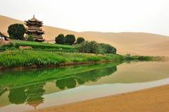 Desert lake. The lake locates in the great gobi desert in Inner Mongolia of China Royalty Free Stock Photo