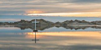 Desert Lake Cross Stock Images