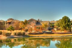 Desert Lake Homes Stock Image