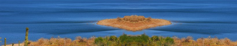 Desert Lake Island Stock Image
