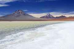 Desert lake Laguna Lejia, Altiplano, Chile Royalty Free Stock Photography