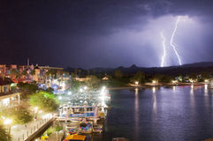 Desert Lake Lightning stock image