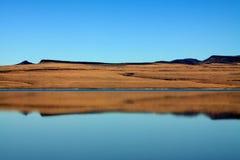 Desert Lake Reflection. Reflection of the desert hills at Alkali Lake in eastern Oregon Royalty Free Stock Photography