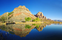 Desert Lake Reflection. In Red Rock Conservation Area Royalty Free Stock Images