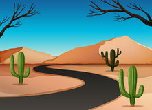 Desert land with road Stock Photos