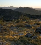 Desert landscape. With mountains at sunset Royalty Free Stock Photography