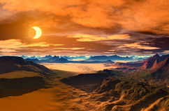 Desert Landscape. 3D animated desert Landscape at night. golden brown and orange colours Stock Photos