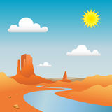 Desert Landscape. A Desert Landscape with River and Mountains Royalty Free Stock Images
