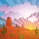 Desert Landscape. A Vector Desert Landscape with Mountains and Cactus Royalty Free Stock Images