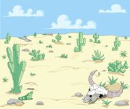 Desert Landscape. A Desert  Landscape with cactuses  and scull Royalty Free Stock Image