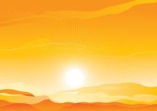 Desert landscape. Vector background of  sunrise in sand desert Royalty Free Stock Photos