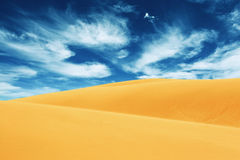 Desert landscape. With blue cloudy sky royalty free stock photos